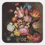 Todavía vida de flores en un florero ovoide pegatina cuadrada