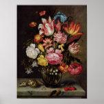 Todavía vida de flores en un florero ovoide póster
