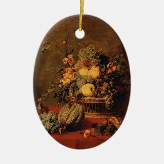 Todavía vida de la fruta en una cesta de Francisco Adorno Ovalado De Cerámica