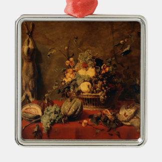 Todavía vida de la fruta en una cesta de Francisco Adorno Cuadrado Plateado