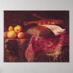 Todavía vida de la fruta y de los instrumentos mus posters