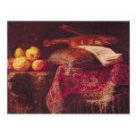 Todavía vida de la fruta y de los instrumentos mus tarjetas postales