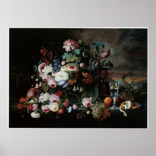Todavía vida de las flores y de la fruta 1867 póster