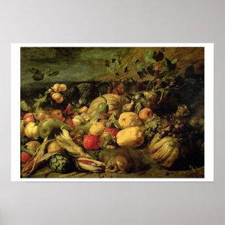 Todavía vida de las frutas y verduras (aceite en e póster