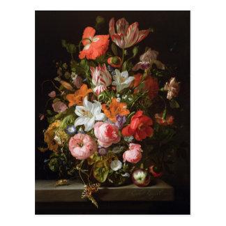 Todavía vida de los lirios de los rosas, tulipanes postales