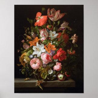 Todavía vida de los lirios de los rosas, tulipanes póster