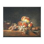 Todavía vida de los melocotones, nueces, uvas lienzo envuelto para galerias