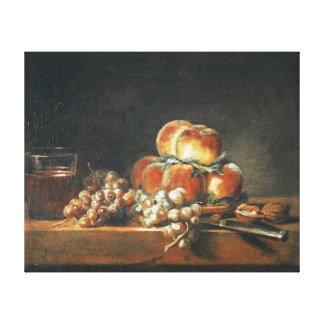 Todavía vida de los melocotones nueces uvas lienzo envuelto para galerias