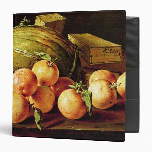 Todavía vida de naranjas, de melones y de cajas