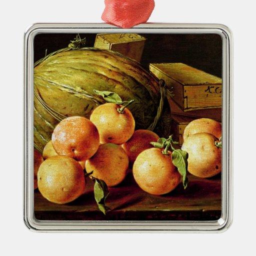 Todavía vida de naranjas, de melones y de cajas ornamento de navidad