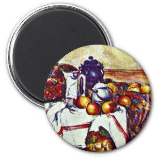 Todavía vida de Paul Cézanne (la mejor calidad) Imán Redondo 5 Cm