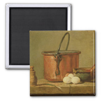 Todavía vida de utensilios de cocinar, caldera imanes de nevera