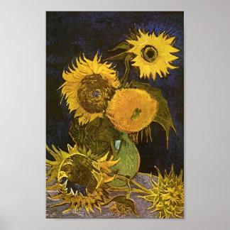 Todavía vida: Florero, cinco girasoles, Vincent va Poster