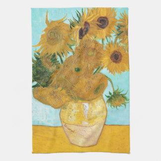 Todavía vida - florero con doce girasoles Van Gogh Toalla De Mano