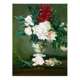 Todavía vida, florero con los Peonies de Eduardo M Tarjetas Postales