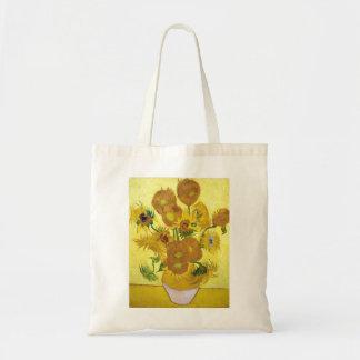Todavía vida - florero con quince girasoles Van Go Bolsa Tela Barata