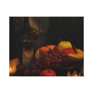 Todavía vida /Fruit y vino Impresión En Lienzo Estirada