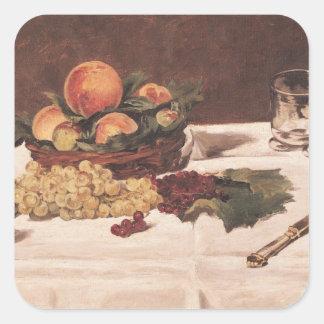 Todavía vida: Fruta en una tabla, 1864 Pegatinas Cuadradases