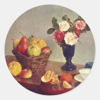 Todavía vida - Henri Fantin-Latour Etiquetas Redondas