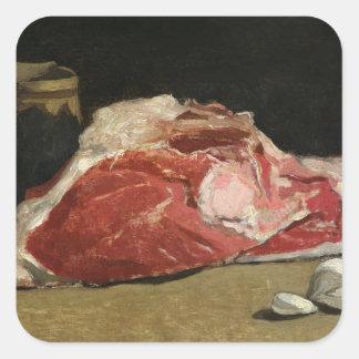 Todavía vida, la junta de la carne, 1864 calcomania cuadradas personalizadas