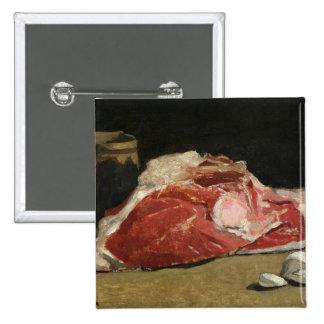Todavía vida, la junta de la carne, 1864 pin cuadrado