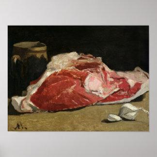 Todavía vida, la junta de la carne, 1864 póster