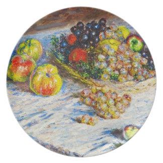 Todavía vida - manzanas y uvas Claude Monet Platos Para Fiestas