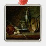 Todavía vida: Menú del día rápido, 1731 Adorno Navideño Cuadrado De Metal