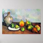 Todavía vida, tarro y fruta de Paul Cezanne Poster