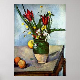 Todavía vida tulipanes y manzanas de Paul Cezanne Posters
