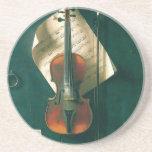 Todavía violín viejo de la vida, Harnett, Posavasos Manualidades