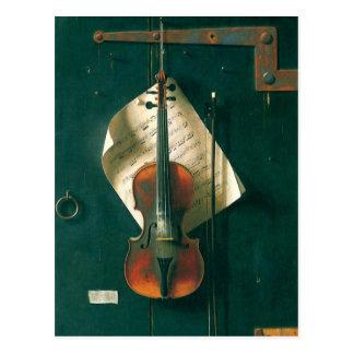 Todavía violín viejo de la vida, Harnett, Postales