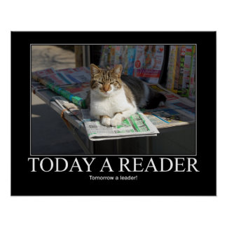 Today a Reader Cat Artwork Poster