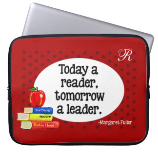 Today  A Reader Tomorrow A Leader Red Polka Dots Computer Sleeve