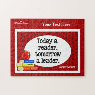 Today  A Reader Tomorrow A Leader Red Polka Dots Jigsaw Puzzle