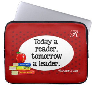 Today  A Reader Tomorrow A Leader Red Polka Dots Laptop Sleeve