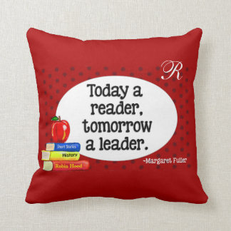 Today  A Reader Tomorrow A Leader Red Polka Dots Throw Pillow