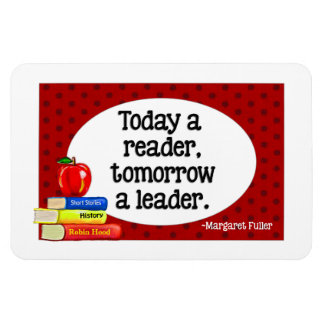 Today  A Reader Tomorrow A Leader Red Polka Dots Rectangular Photo Magnet