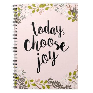 Today, Choose Joy Natural Woodland Floral Spiral Notebook