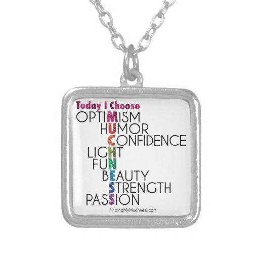 Today, Choose MUCHNESS, Glitter inspirational art Necklace