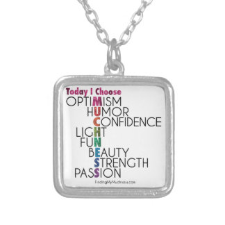 Today, Choose MUCHNESS, Glitter inspirational art Square Pendant Necklace