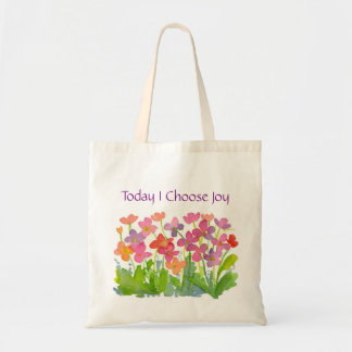 Today I Choose Joy Pink Watercolor Flowers Tote Bag