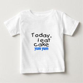 Today I Eat Cake Yum Yum (blue) Baby T-Shirt