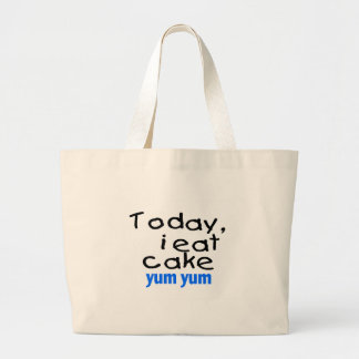 Today I Eat Cake Yum Yum blue Canvas Bags