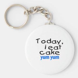 Today I Eat Cake Yum Yum (blue) Keychain