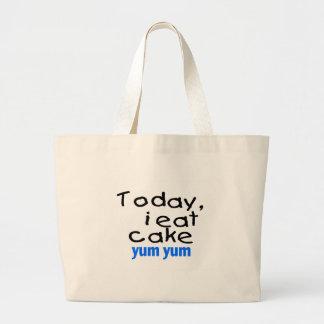 Today I Eat Cake Yum Yum (blue) Large Tote Bag
