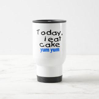 Today I Eat Cake Yum Yum (blue) Travel Mug
