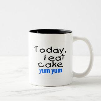 Today I Eat Cake Yum Yum (blue) Two-Tone Coffee Mug