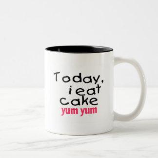 Today I Eat Cake Yum Yum (pink) Two-Tone Coffee Mug