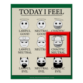 Today I Feel Chaotic Neutral Poster